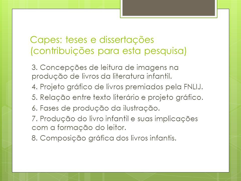 Capes: teses e dissertações (contribuições para esta pesquisa) 3. Concepções de leitura de imagens na produção de livros da literatura infantil. 4. Pr