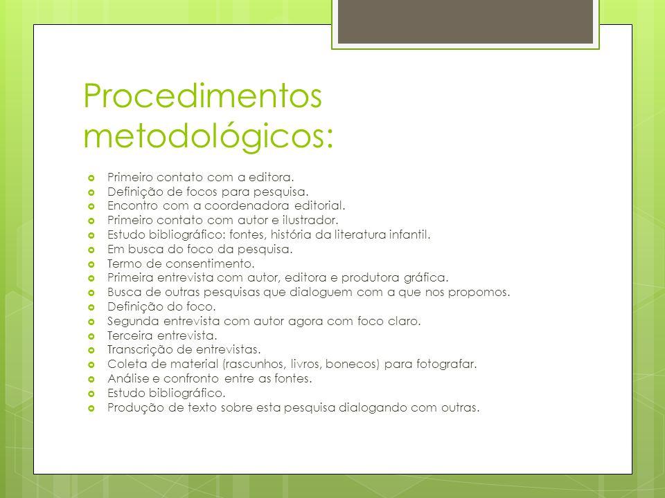 Procedimentos metodológicos: Primeiro contato com a editora. Definição de focos para pesquisa. Encontro com a coordenadora editorial. Primeiro contato