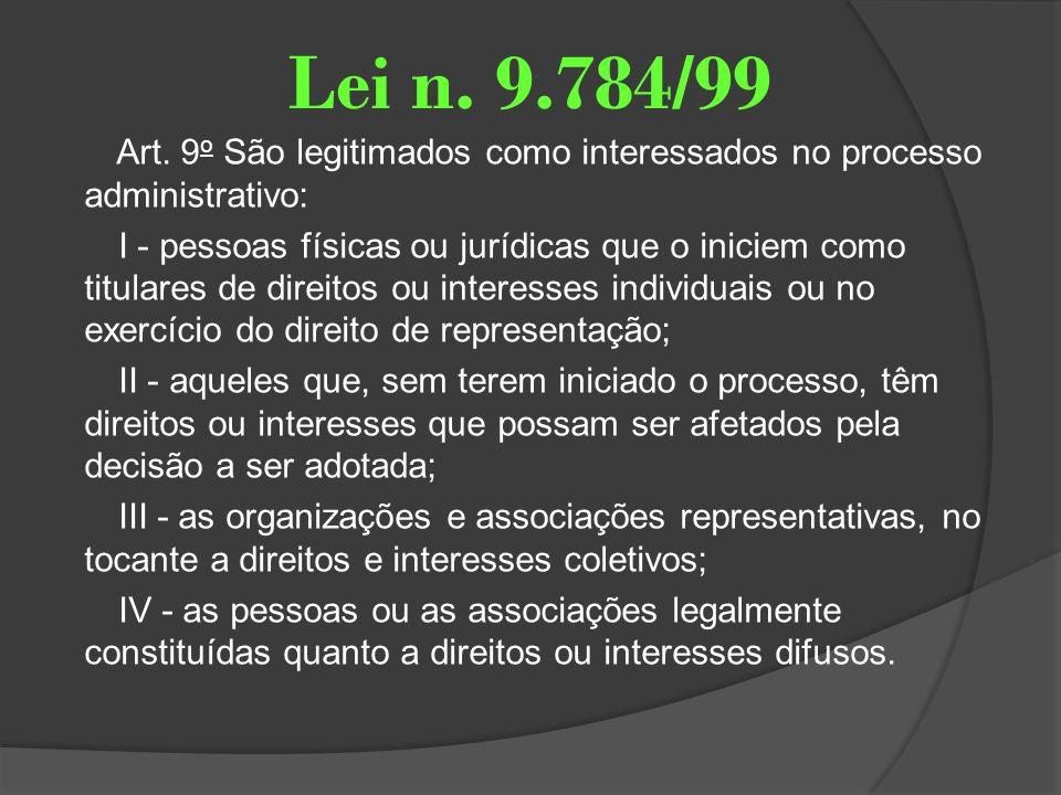 Lei n. 9.784/99 Art. 9 o São legitimados como interessados no processo administrativo: I - pessoas físicas ou jurídicas que o iniciem como titulares d