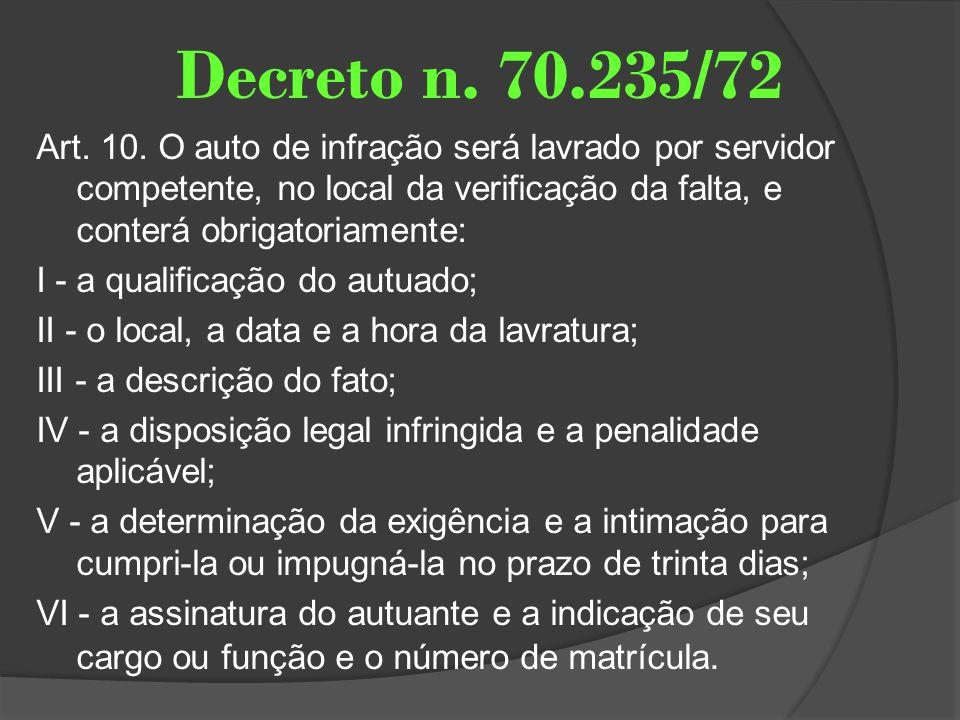 Decreto n. 70.235/72 Art. 10. O auto de infração será lavrado por servidor competente, no local da verificação da falta, e conterá obrigatoriamente: I