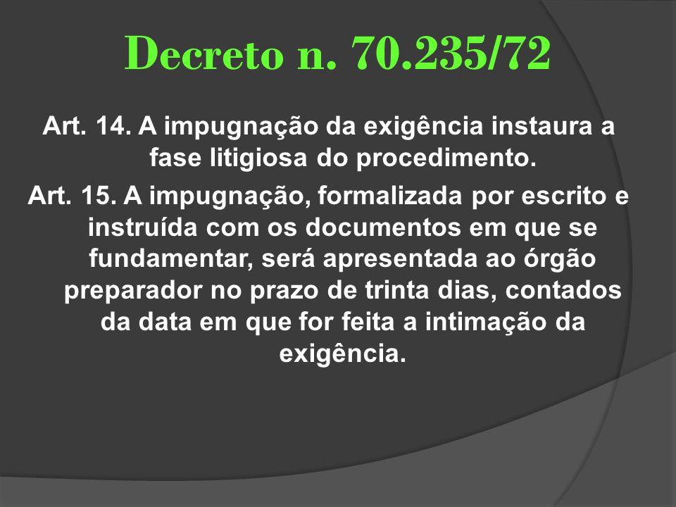 Decreto n. 70.235/72 Art. 14. A impugnação da exigência instaura a fase litigiosa do procedimento. Art. 15. A impugnação, formalizada por escrito e in
