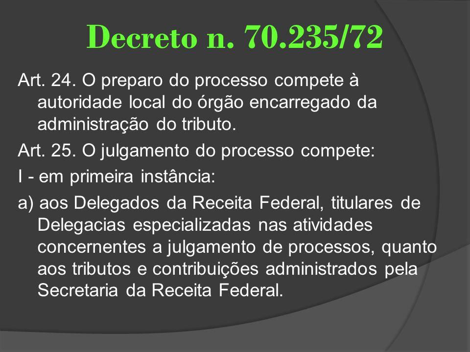 Decreto n. 70.235/72 Art. 24. O preparo do processo compete à autoridade local do órgão encarregado da administração do tributo. Art. 25. O julgamento
