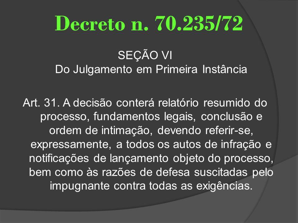 Decreto n. 70.235/72 SEÇÃO VI Do Julgamento em Primeira Instância Art. 31. A decisão conterá relatório resumido do processo, fundamentos legais, concl