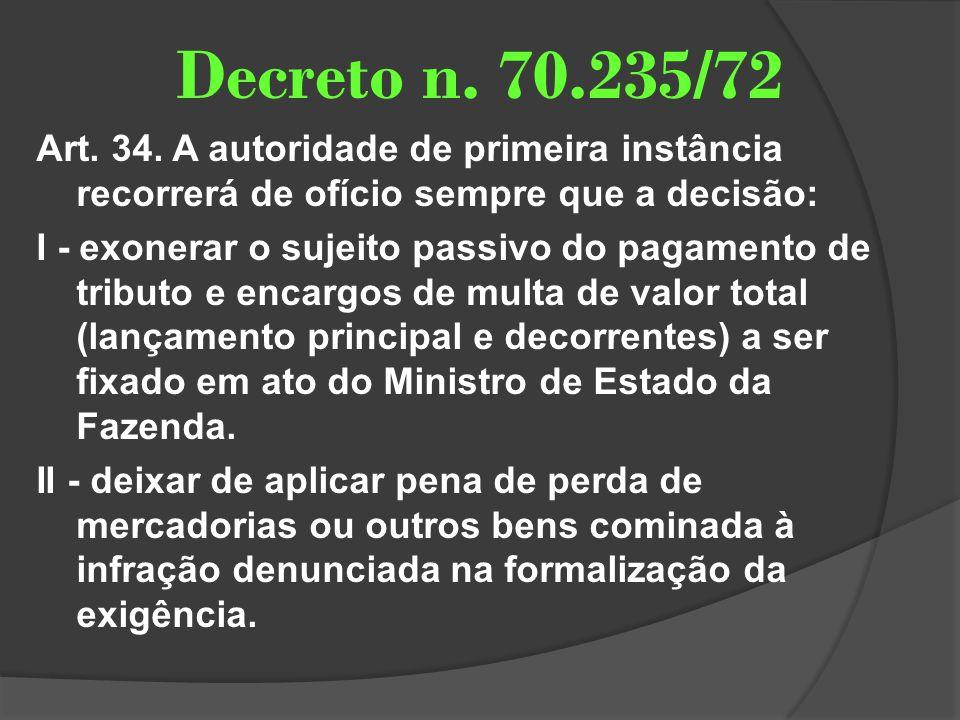 Decreto n. 70.235/72 Art. 34. A autoridade de primeira instância recorrerá de ofício sempre que a decisão: I - exonerar o sujeito passivo do pagamento