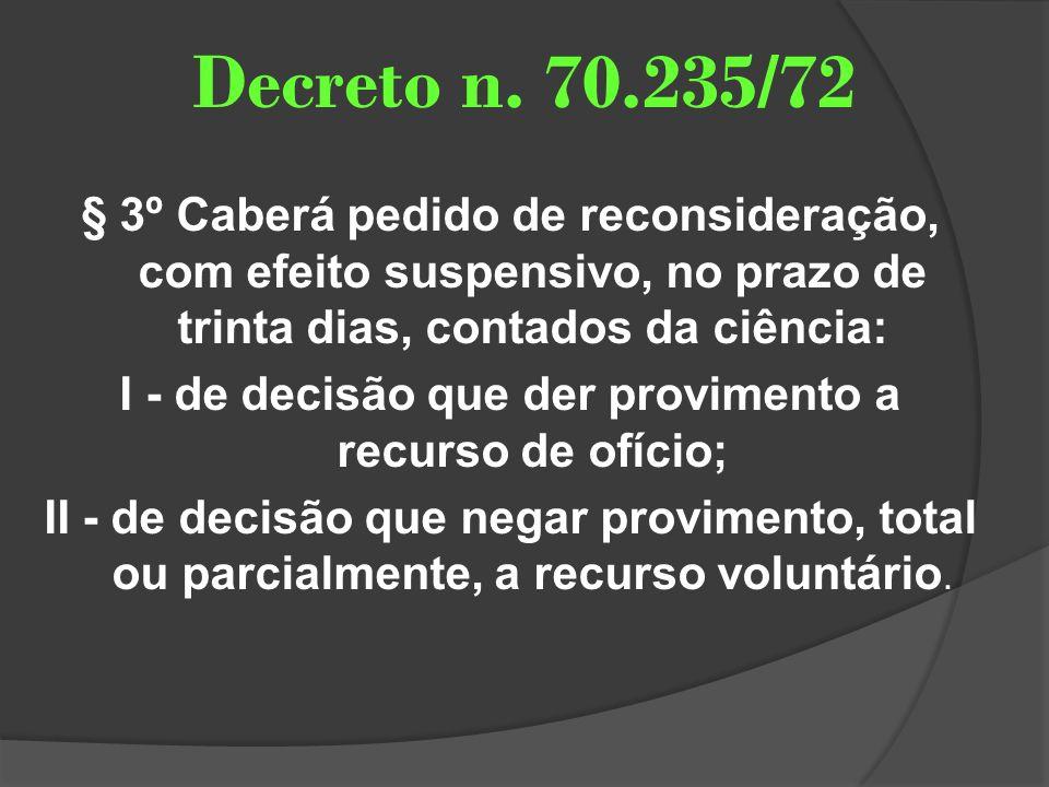 Decreto n. 70.235/72 § 3º Caberá pedido de reconsideração, com efeito suspensivo, no prazo de trinta dias, contados da ciência: I - de decisão que der