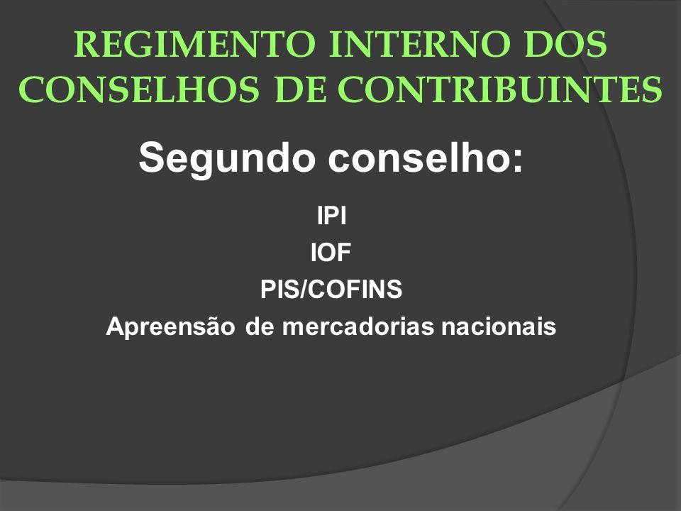 REGIMENTO INTERNO DOS CONSELHOS DE CONTRIBUINTES Segundo conselho: IPI IOF PIS/COFINS Apreensão de mercadorias nacionais