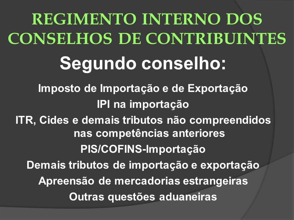 REGIMENTO INTERNO DOS CONSELHOS DE CONTRIBUINTES Segundo conselho: Imposto de Importação e de Exportação IPI na importação ITR, Cides e demais tributo