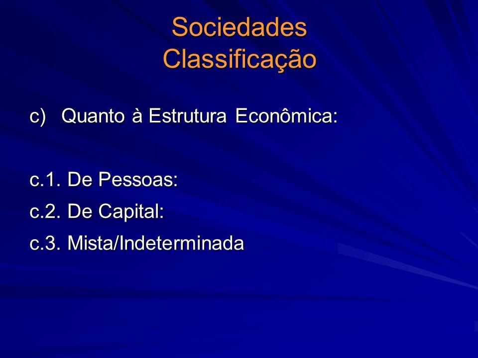 Sociedades Classificação c) Quanto à Estrutura Econômica: c.1. De Pessoas: c.2. De Capital: c.3. Mista/Indeterminada