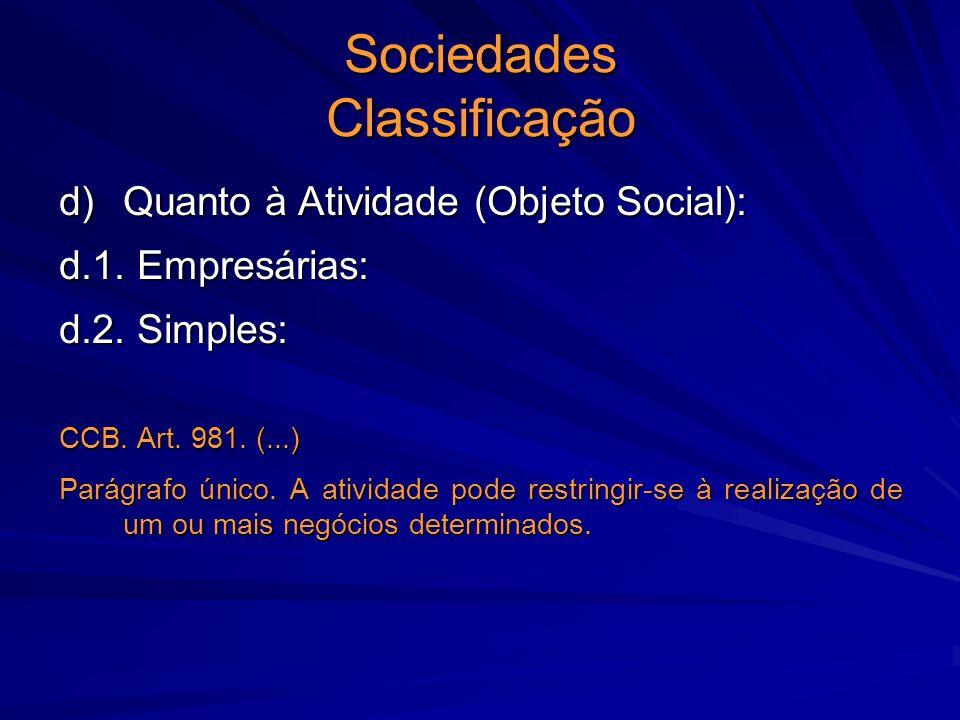 Sociedades Classificação d) Quanto à Atividade (Objeto Social): d.1. Empresárias: d.2. Simples: CCB. Art. 981. (...) Parágrafo único. A atividade pode