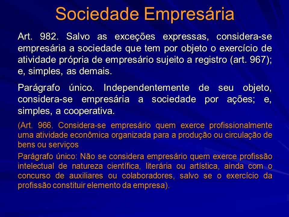 Sociedade Empresária Art. 982. Salvo as exceções expressas, considera-se empresária a sociedade que tem por objeto o exercício de atividade própria de