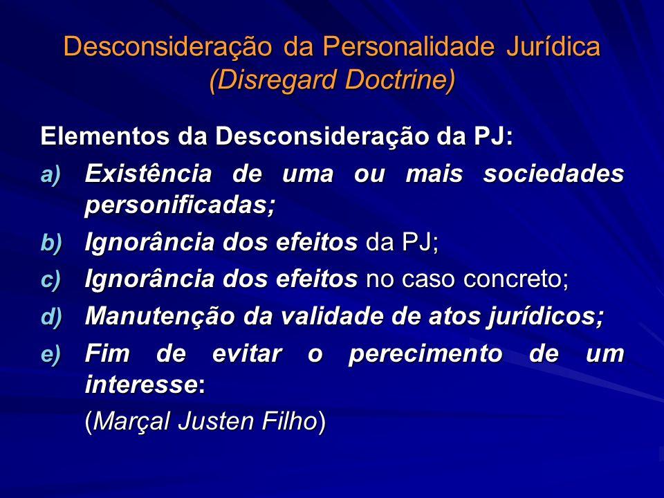 Desconsideração da Personalidade Jurídica (Disregard Doctrine) Elementos da Desconsideração da PJ: a) Existência de uma ou mais sociedades personifica