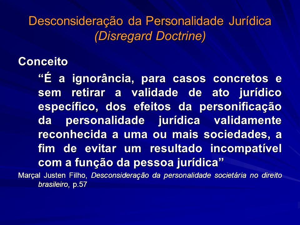 Desconsideração da Personalidade Jurídica (Disregard Doctrine) Conceito É a ignorância, para casos concretos e sem retirar a validade de ato jurídico