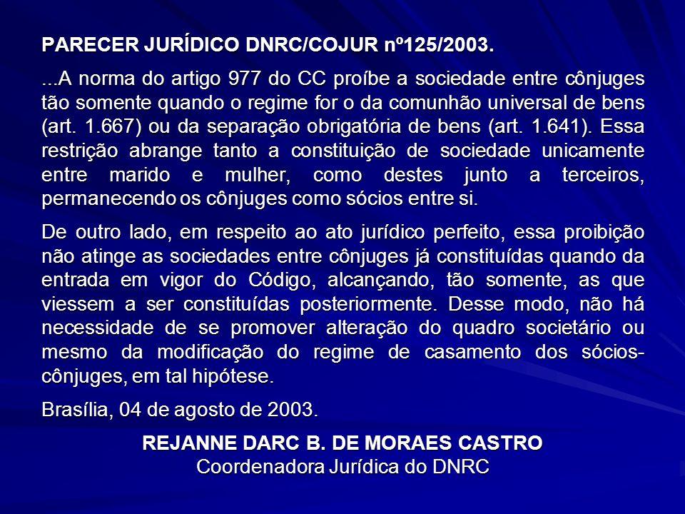 PARECER JURÍDICO DNRC/COJUR nº125/2003....A norma do artigo 977 do CC proíbe a sociedade entre cônjuges tão somente quando o regime for o da comunhão