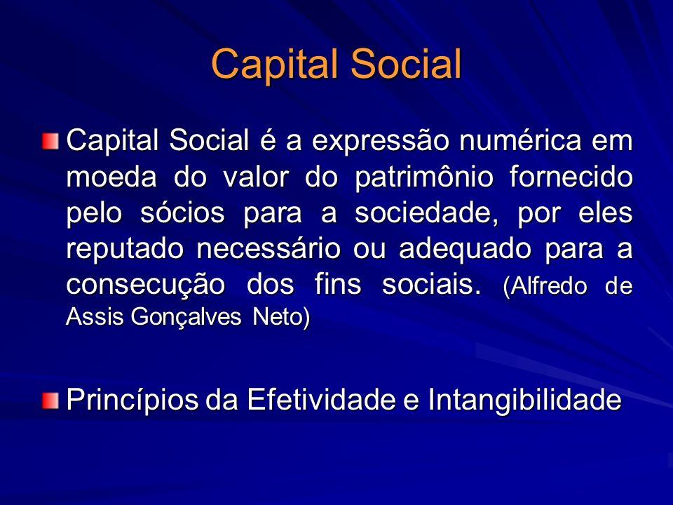 Capital Social Capital Social é a expressão numérica em moeda do valor do patrimônio fornecido pelo sócios para a sociedade, por eles reputado necessá