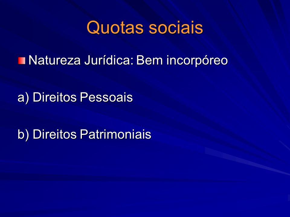 Quotas sociais Natureza Jurídica: Bem incorpóreo a) Direitos Pessoais b) Direitos Patrimoniais