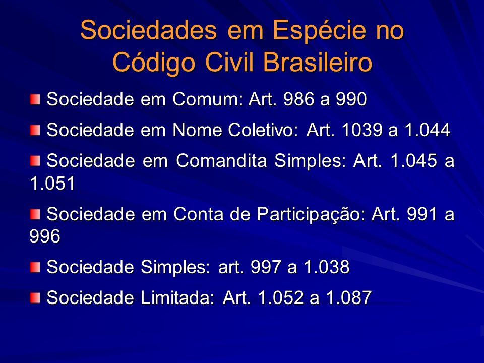 Sociedades em Espécie no Código Civil Brasileiro Sociedade em Comum: Art. 986 a 990 Sociedade em Comum: Art. 986 a 990 Sociedade em Nome Coletivo: Art