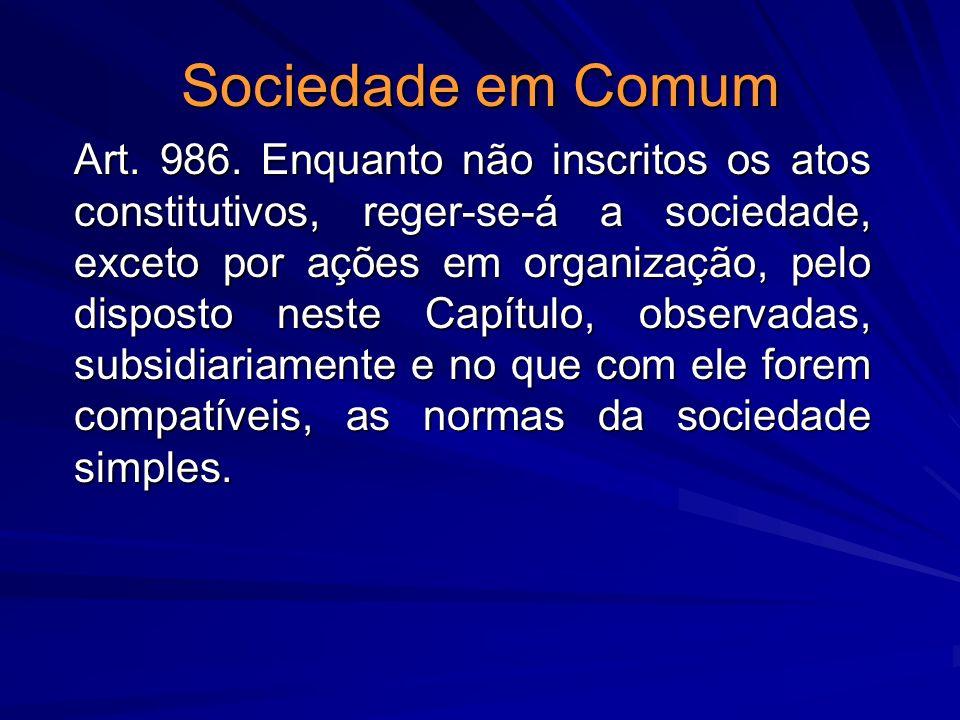 Sociedade em Comum Art. 986. Enquanto não inscritos os atos constitutivos, reger-se-á a sociedade, exceto por ações em organização, pelo disposto nest