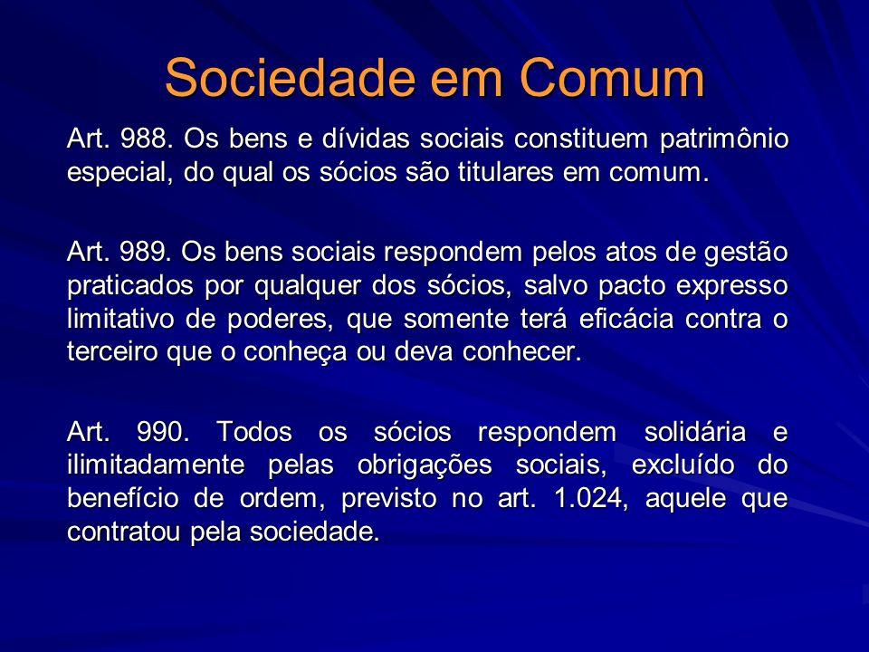 Sociedade em Comum Art. 988. Os bens e dívidas sociais constituem patrimônio especial, do qual os sócios são titulares em comum. Art. 989. Os bens soc