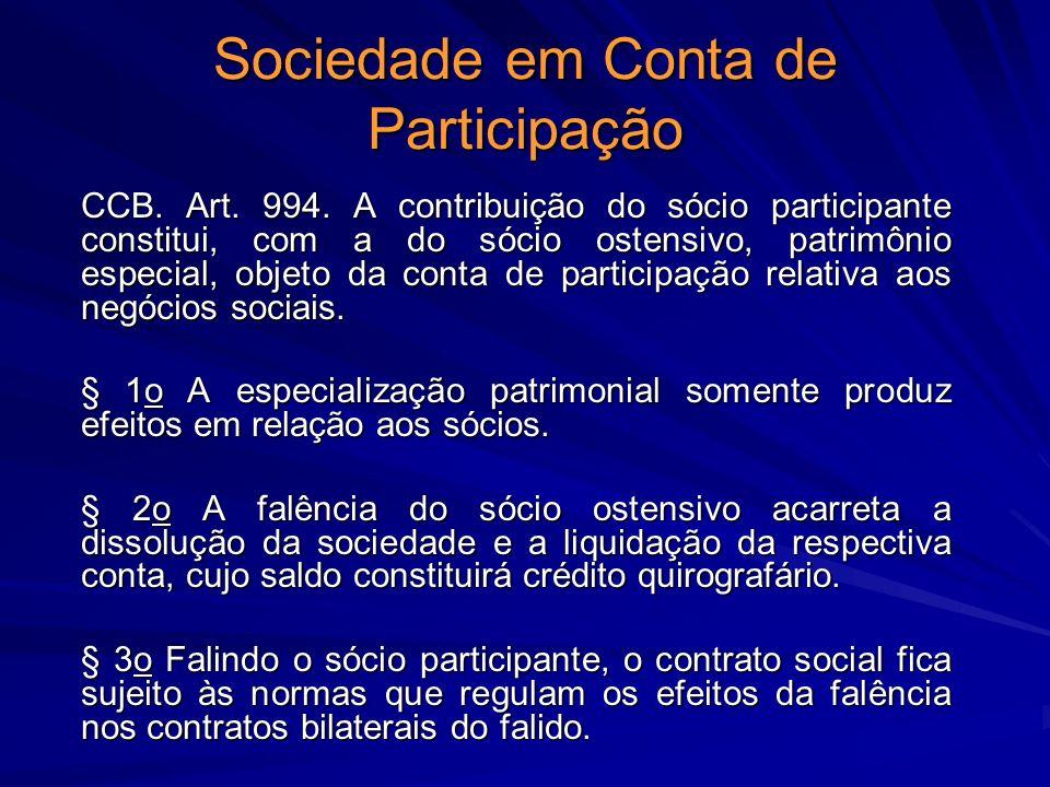 Sociedade em Conta de Participação CCB. Art. 994. A contribuição do sócio participante constitui, com a do sócio ostensivo, patrimônio especial, objet