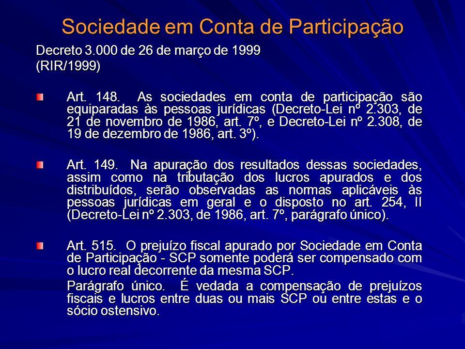 Sociedade em Conta de Participação Decreto 3.000 de 26 de março de 1999 (RIR/1999) Art. 148. As sociedades em conta de participação são equiparadas às