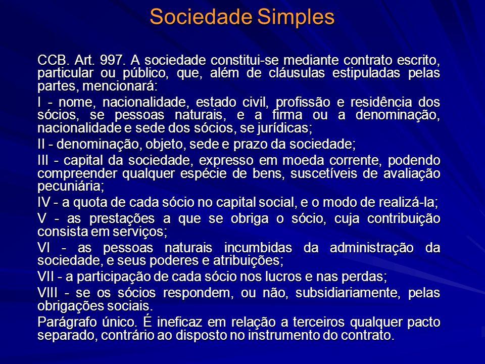 Sociedade Simples CCB. Art. 997. A sociedade constitui-se mediante contrato escrito, particular ou público, que, além de cláusulas estipuladas pelas p