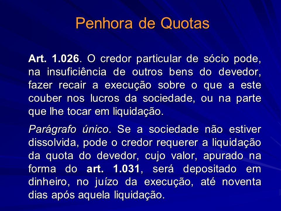 Penhora de Quotas Art. 1.026. O credor particular de sócio pode, na insuficiência de outros bens do devedor, fazer recair a execução sobre o que a est
