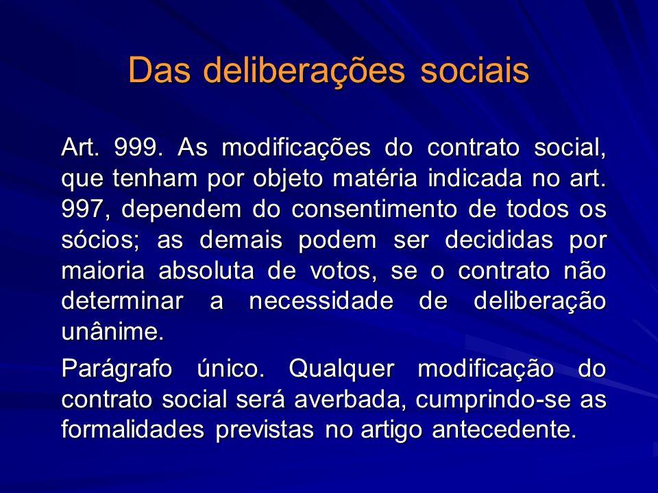 Das deliberações sociais Art. 999. As modificações do contrato social, que tenham por objeto matéria indicada no art. 997, dependem do consentimento d