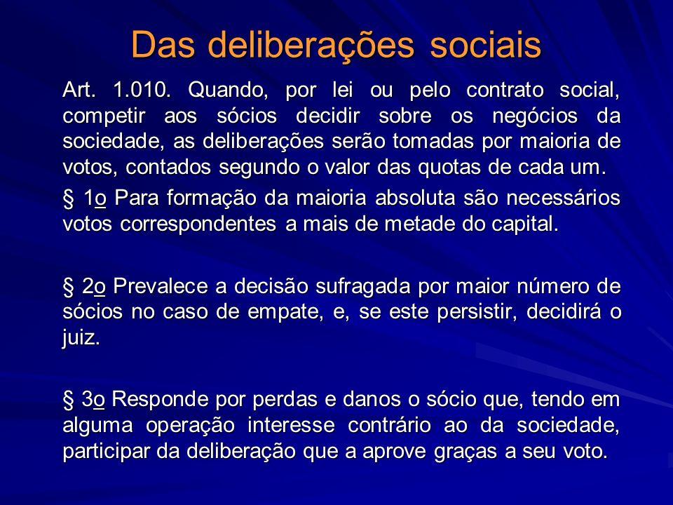 Das deliberações sociais Art. 1.010. Quando, por lei ou pelo contrato social, competir aos sócios decidir sobre os negócios da sociedade, as deliberaç