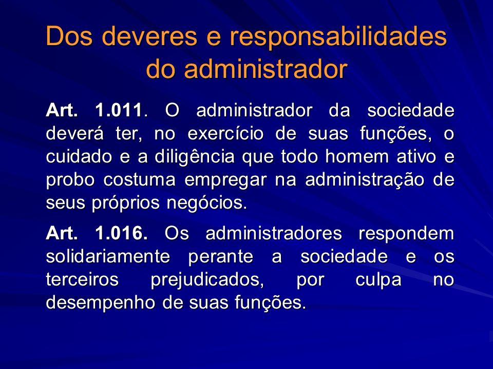 Dos deveres e responsabilidades do administrador Art. 1.011. O administrador da sociedade deverá ter, no exercício de suas funções, o cuidado e a dili