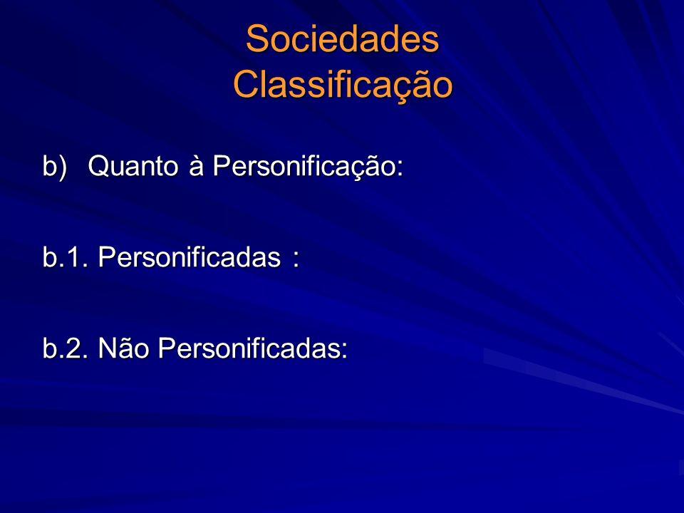 Sociedades Classificação b) Quanto à Personificação: b.1. Personificadas : b.2. Não Personificadas: