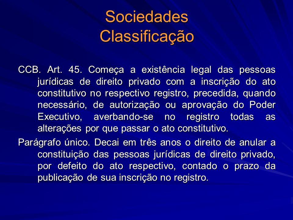 Sociedades Classificação CCB. Art. 45. Começa a existência legal das pessoas jurídicas de direito privado com a inscrição do ato constitutivo no respe