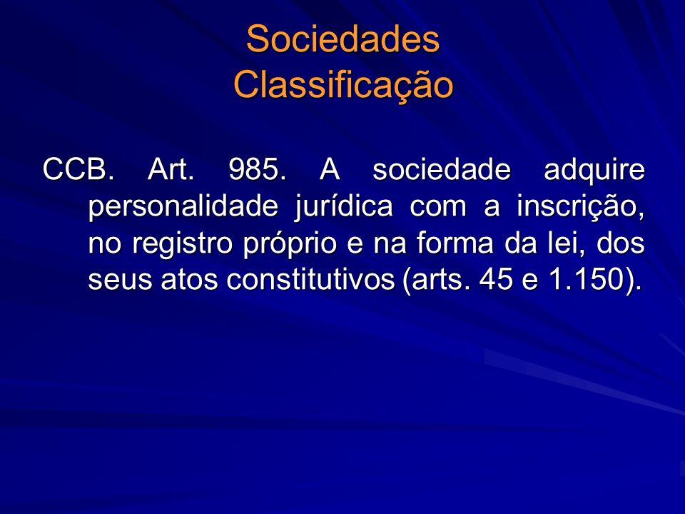 Sociedades Classificação CCB. Art. 985. A sociedade adquire personalidade jurídica com a inscrição, no registro próprio e na forma da lei, dos seus at