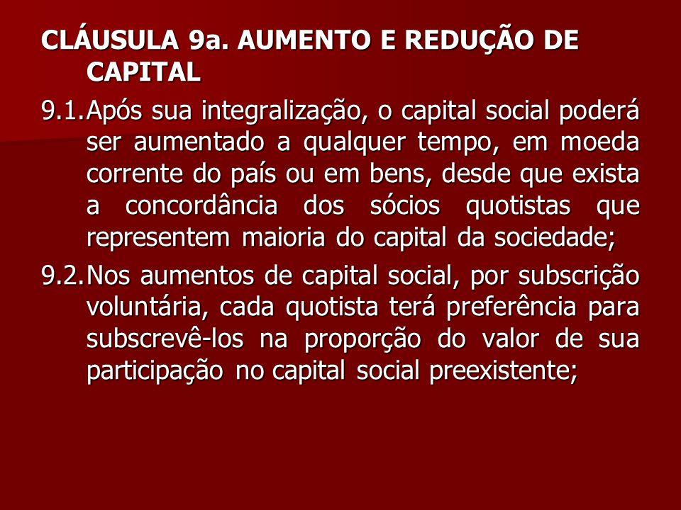 CLÁUSULA 9a. AUMENTO E REDUÇÃO DE CAPITAL 9.1.Após sua integralização, o capital social poderá ser aumentado a qualquer tempo, em moeda corrente do pa