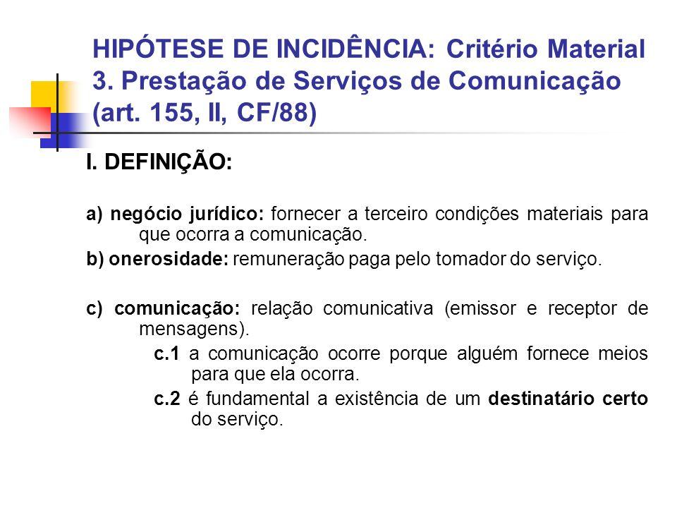 HIPÓTESE DE INCIDÊNCIA: Critério Material 3. Prestação de Serviços de Comunicação (art. 155, II, CF/88) I. DEFINIÇÃO: a) negócio jurídico: fornecer a