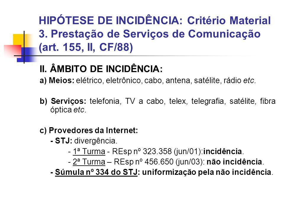 HIPÓTESE DE INCIDÊNCIA: Critério Material 3. Prestação de Serviços de Comunicação (art. 155, II, CF/88) II. ÂMBITO DE INCIDÊNCIA: a) Meios: elétrico,