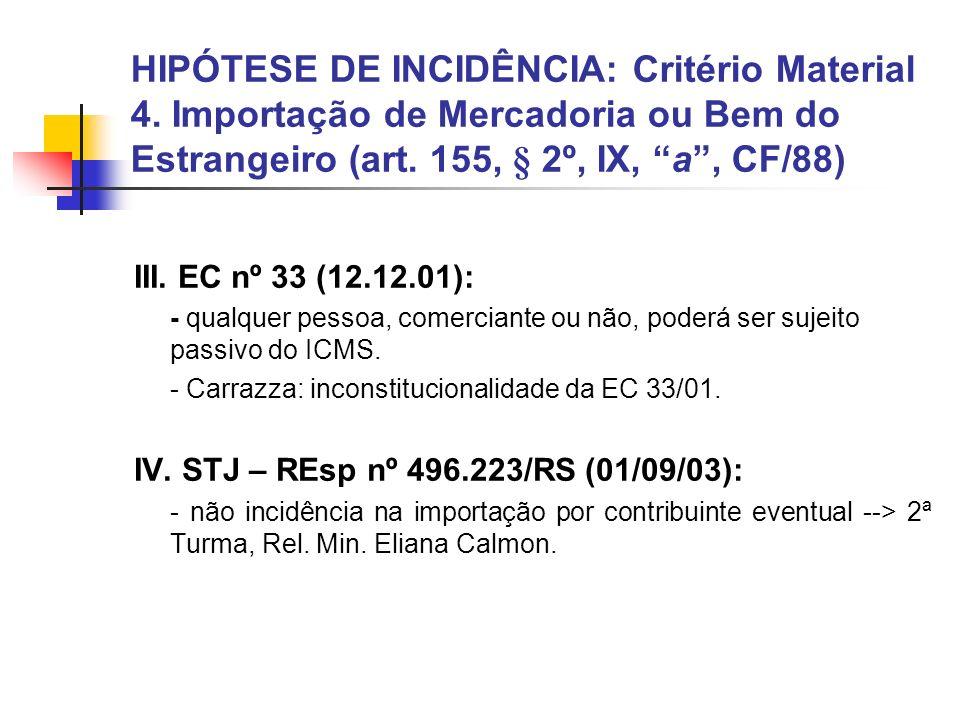HIPÓTESE DE INCIDÊNCIA: Critério Material 4. Importação de Mercadoria ou Bem do Estrangeiro (art. 155, § 2º, IX, a, CF/88) III. EC nº 33 (12.12.01): -