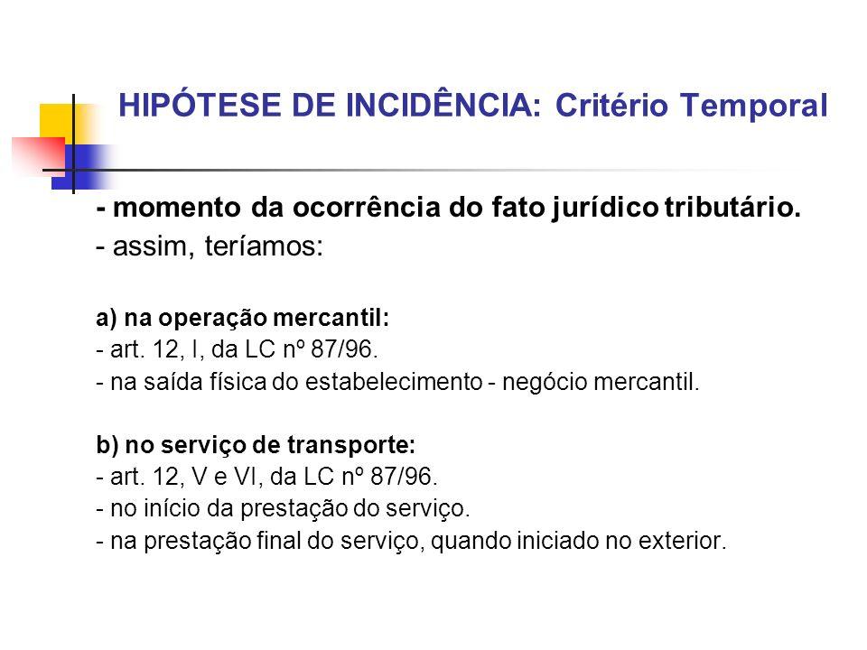 HIPÓTESE DE INCIDÊNCIA: Critério Temporal - momento da ocorrência do fato jurídico tributário. - assim, teríamos: a) na operação mercantil: - art. 12,