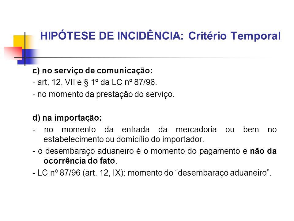 HIPÓTESE DE INCIDÊNCIA: Critério Temporal c) no serviço de comunicação: - art. 12, VII e § 1º da LC nº 87/96. - no momento da prestação do serviço. d)
