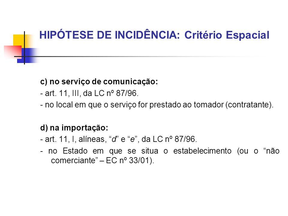 HIPÓTESE DE INCIDÊNCIA: Critério Espacial c) no serviço de comunicação: - art. 11, III, da LC nº 87/96. - no local em que o serviço for prestado ao to