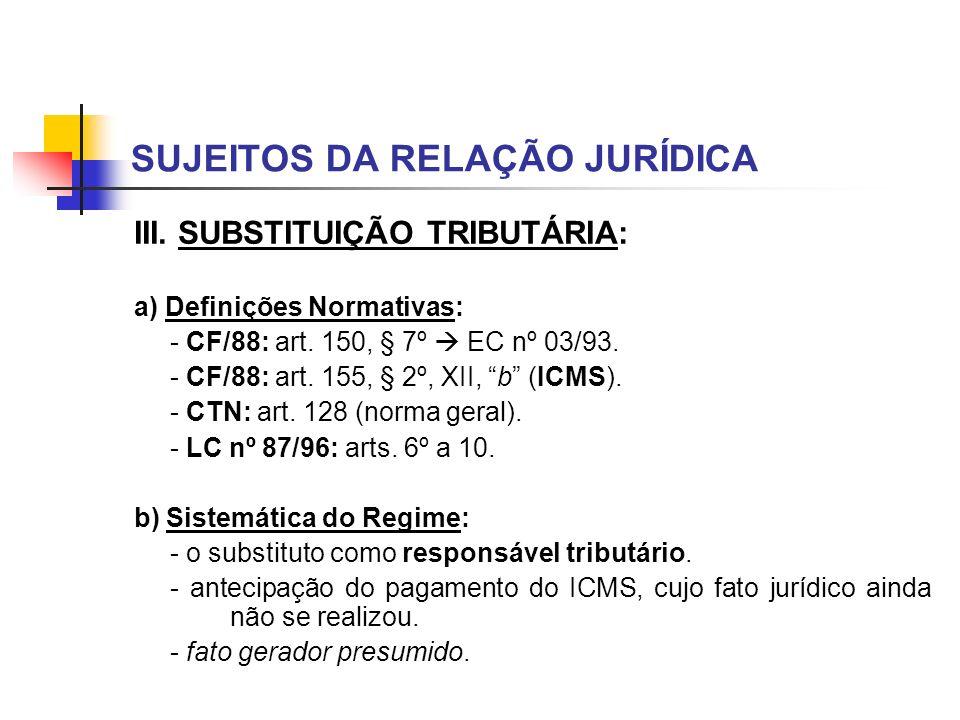 SUJEITOS DA RELAÇÃO JURÍDICA III. SUBSTITUIÇÃO TRIBUTÁRIA: a) Definições Normativas: - CF/88: art. 150, § 7º EC nº 03/93. - CF/88: art. 155, § 2º, XII