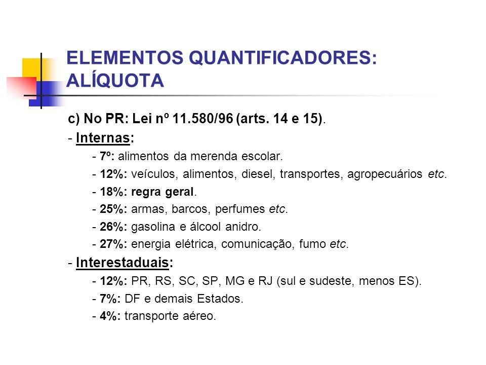 ELEMENTOS QUANTIFICADORES: ALÍQUOTA c) No PR: Lei nº 11.580/96 (arts. 14 e 15). - Internas: - 7º: alimentos da merenda escolar. - 12%: veículos, alime