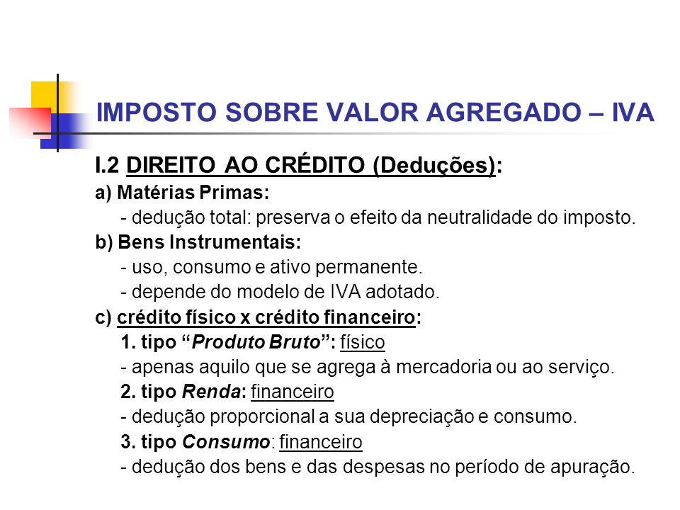 IMPOSTO SOBRE VALOR AGREGADO – IVA I.2 DIREITO AO CRÉDITO (Deduções): a) Matérias Primas: - dedução total: preserva o efeito da neutralidade do impost