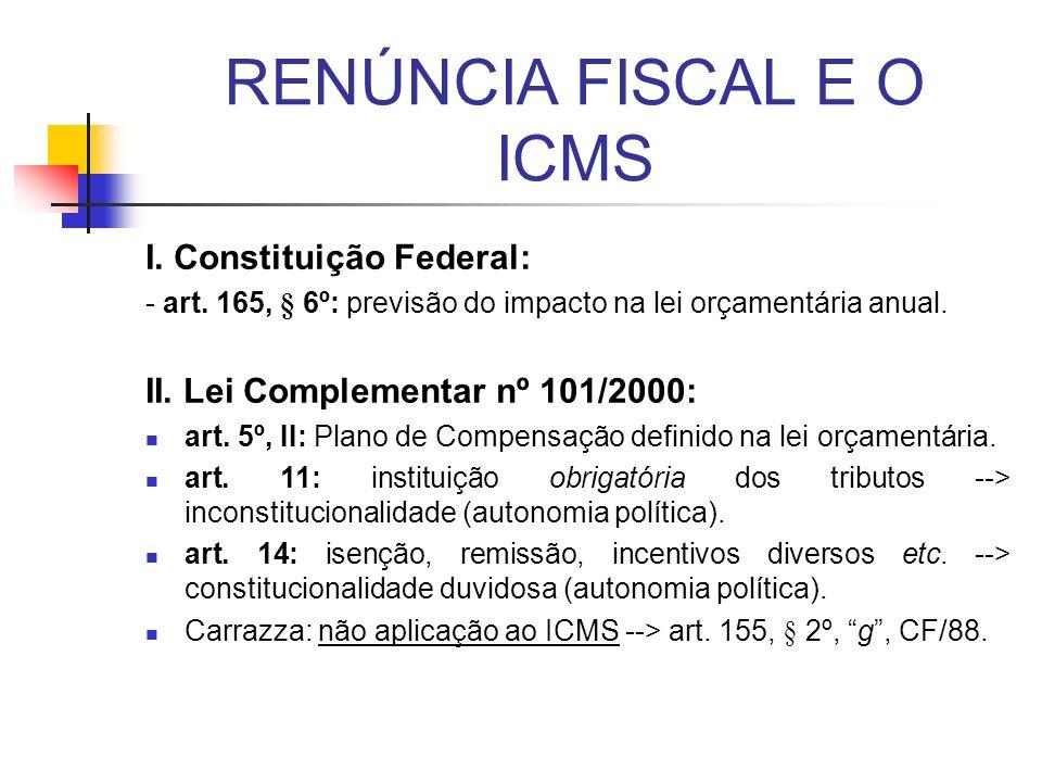 RENÚNCIA FISCAL E O ICMS I. Constituição Federal: - art. 165, § 6º: previsão do impacto na lei orçamentária anual. II. Lei Complementar nº 101/2000: a