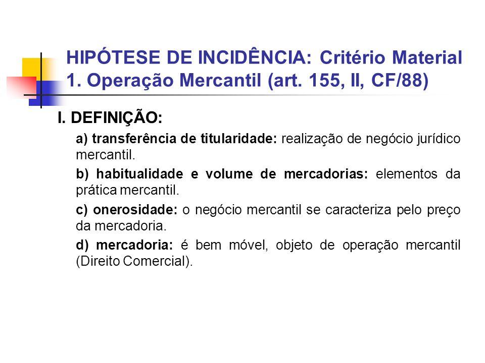 HIPÓTESE DE INCIDÊNCIA: Critério Material 1. Operação Mercantil (art. 155, II, CF/88) I. DEFINIÇÃO: a) transferência de titularidade: realização de ne