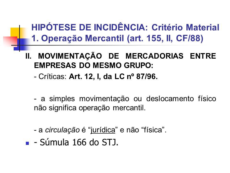 HIPÓTESE DE INCIDÊNCIA: Critério Material 1. Operação Mercantil (art. 155, II, CF/88) II. MOVIMENTAÇÃO DE MERCADORIAS ENTRE EMPRESAS DO MESMO GRUPO: -