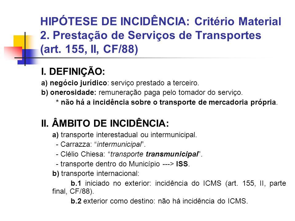 HIPÓTESE DE INCIDÊNCIA: Critério Material 2.Prestação de Serviços de Transportes (art.