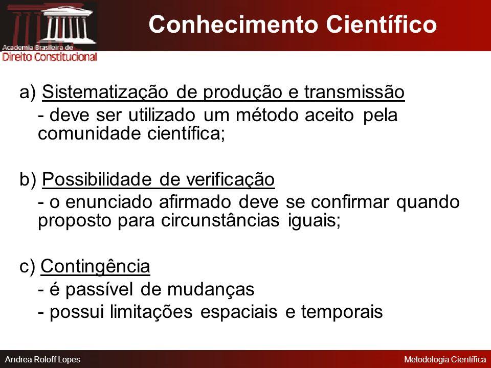 Andrea Roloff LopesMetodologia Científica Senso Comum: -Alheamento quanto às causas dos fenômenos -Transmissão pela tradição, a partir da experiência