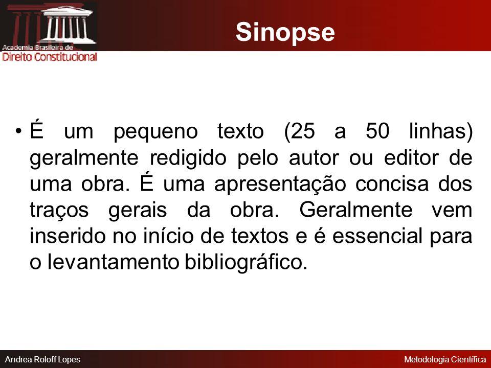 Andrea Roloff LopesMetodologia Científica As Formas Básicas de Texto Científico Sinopse Resumo Resenha Crítica