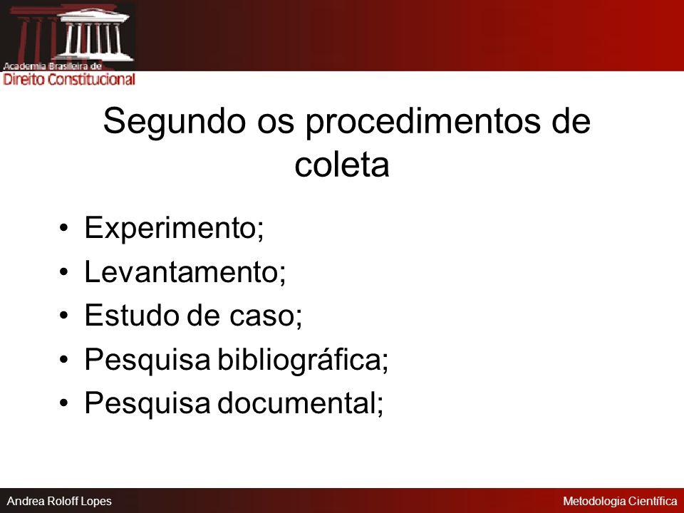 Andrea Roloff LopesMetodologia Científica Caracterização das Pesquisas Segundo os seus objetivos: Exploratórias; Descritivas; Explicativas.