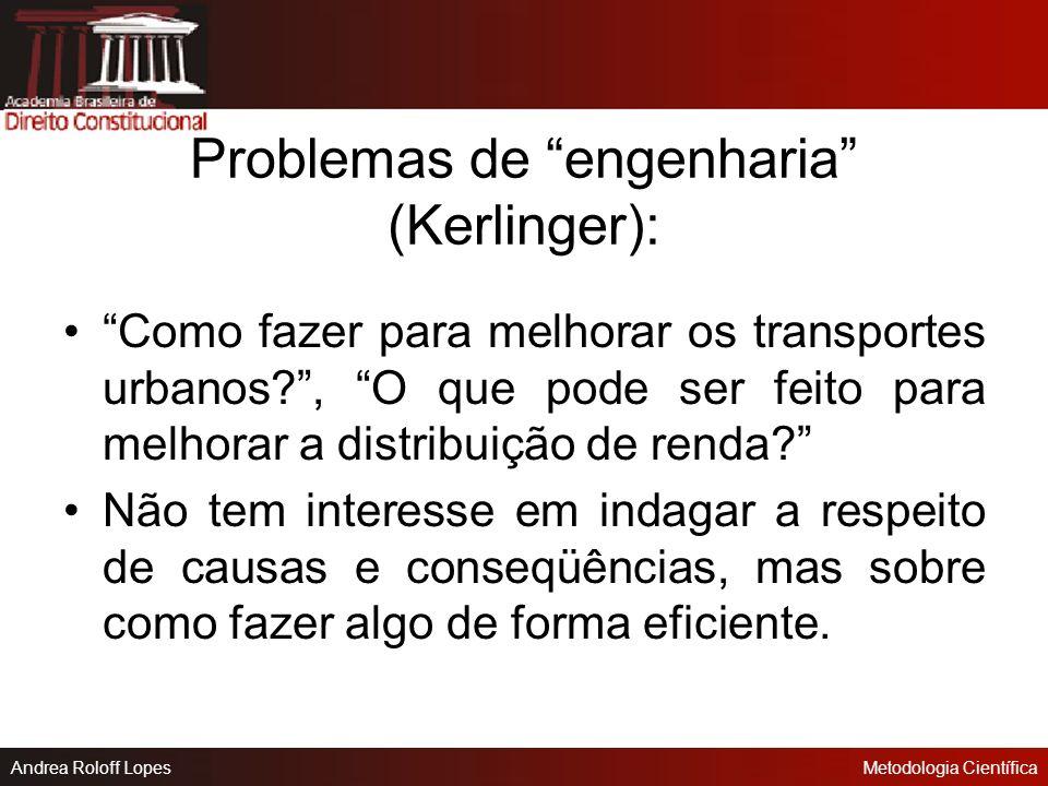 Andrea Roloff LopesMetodologia Científica Definição de Problema Questão não solvida e que é objeto de discussão, em qualquer domínio do conhecimento.